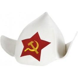"""Будёновка """"Серп и молот"""" белая"""