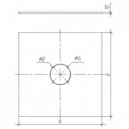 Фланец для дымохода (декоративный), нержавейка 0,5мм, 500х500, d115