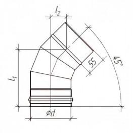 Колено (отвод) для дымохода 45° 3 сегмента, нержавейка, 0,5мм d115