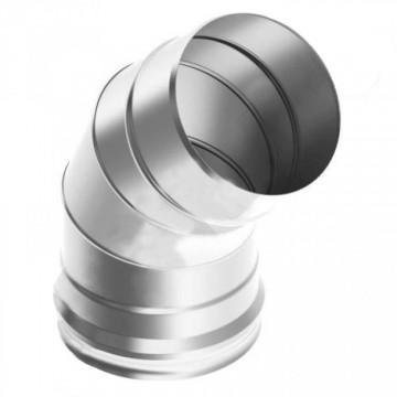 Колено (отвод)для дымохода 45° 3 сегмента, нержавейка, 0,8мм d115