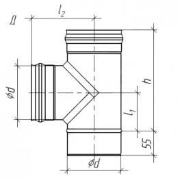 Тройник для дымохода 90°, нержавейка, 0,5мм d115
